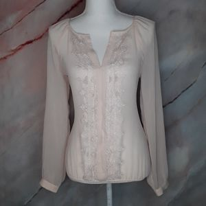 ANN TAYLOR Cream Sheer Blouse W/ Lace XS